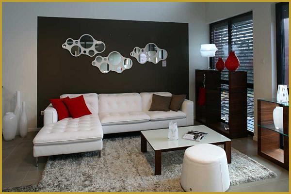 Salon moderne blanc et marron pr l vement d 39 chantillons et une bonne id e de - Salon rouge et blanc ...